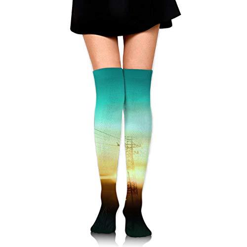 YudoHong Frauen-Mannschafts-Socken-Schenkel-hohes Knie-Fahrrad-Sonnenuntergang-langes Schlauch-Kleid-Legging Sport-Kompressions-Strumpf -