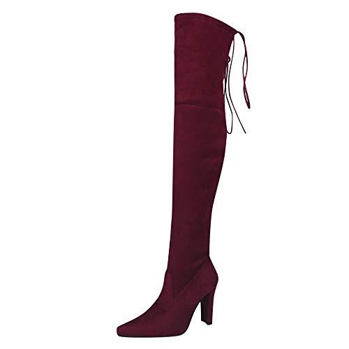 ZODOF Botas Altas De Las SeñOras De Moda Las Mujeres Estiran Las Botas Altas Falsas Delgadas Sobre Las Botas De La Rodilla Los Zapatos De Los Altos Talones