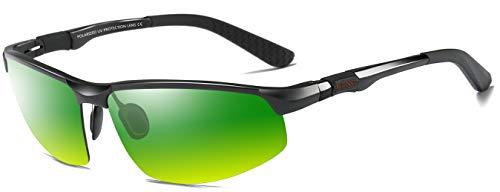 LZXC Herren Tag-Nachtsichtbrillen Polarisierte Sonnenbrille Sportbrillen Fahren im Freien Federscharnier Unzerbrechlich AL-MG Rahmen - Schwarzer Rahmen Tag-Nachtsicht Linse