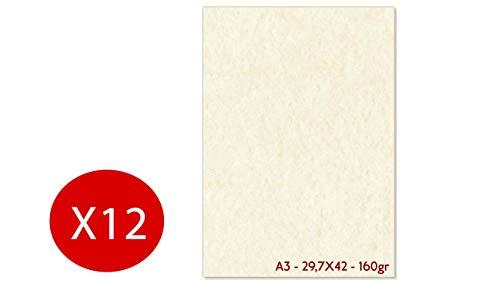 Carta pergamena avorio a3 297x420mm 160g/mq confezione da 12 fogli