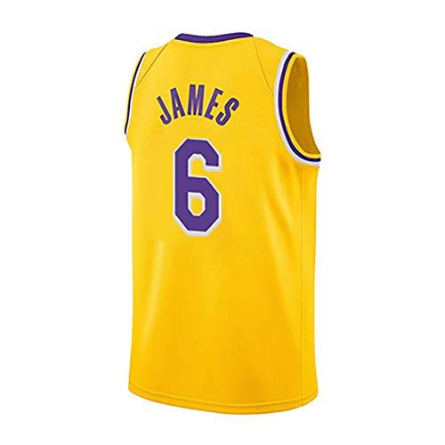 Lebron James 6. Trikot/Lebron James 23. Trikot/Neue Saison Lakers Training Shirt Fans Version der Basketball Anzug Jacke + Shorts-James6Yellow-M