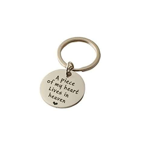 Amody Edelstahl schlüsselanhänger Schmuck Rund Hundemarke Gravur A Piece of My Heart Silber Schlüsselbund für Frauen Männer