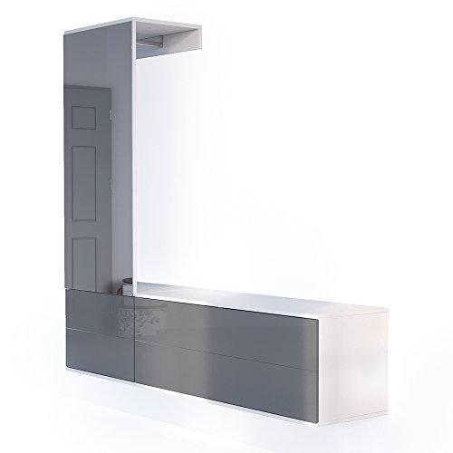 VICCO Garderobenset Flur Garderobe Hochglanz mit Push to Open Funktion und riesigen XXL Spiegel - Großzügiger Schuhschrank Wandhängend (Komplettset, anthrazit hochglanz)