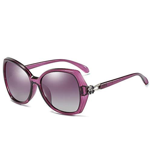 New Polarized Sunglasses Damen-Sonnenbrille Color Film Lens Diamond New A406 Fashion Schwarz Rahmenfarbe (Clover) @Purple (vierblättriges Kleeblatt)