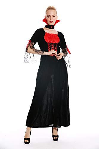 dressmeup W-0279 Kostüm Damen Frauen Halloween Karneval Böse Fee Vampirin Kleid lang schwarz rot - Rote Und Schwarze Fee Kostüm