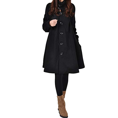 Mantel Kolylong Damen Elegant Hoher Kragen Wollmantel Lang Herbst Winter Warm Wolljacke mit knöpfen Vintage Mantel kleider Dicker Parka Outwear Trenchcoat Wintermantel Steppjacke
