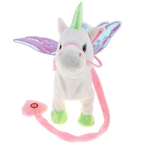 perfeclan Cavallo Elettrico Animale Giocattolo Animale Che Cammina Ballando Unicorno Peluche Robot di Peluche - Bianca