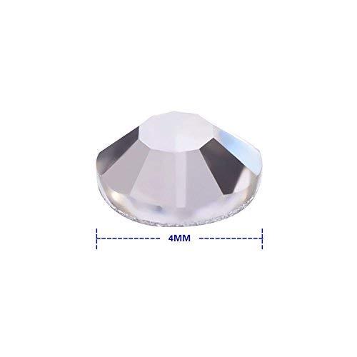 Lvcky 1440Pack Kristall Flache Rückseite Strass rund mit Gems 4mm, Non-Self-Adhesive (kristallklar)