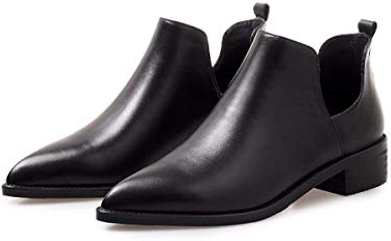 KOKQSX-Mesdames Peu de Bottes Bottes Bottes à la Mode à l'aise Chelsea Bottes de Cuir Rugueux Fond Plat. f01c38
