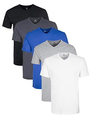 Lower East LE156 T-Shirt, Mehrfarbig(Weiß GreyWeiß/Schwarz/Olympia Blau/Hellgrau Melange/Folkstone Grey), X-Large, 5er-Pack