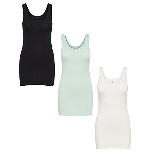 ONLY Damen Onllive Love Long Tank Top Noos 3er Pack Black/White/Aqua