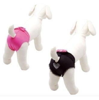 Schwarze Hundeschutzhose für Hündinnen mit Schleife und Diamantenherz - Gr. C (Bauchumfang 30 cm)