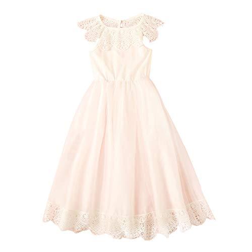 e Party Princess Dress ÄRmellose GekräUselte Spitze Der Kinder Die Normallack Maschenkleid Prinzessin Kleid Blumen MäDchenrock (Weiß, 120) ()