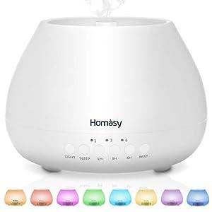 500ml Diffusor Aromatherapie, Homasy 21dB Ultra Leise Aroma Diffuser mit 8 Farben LED, BPA-Frei Aroma Diffuser für ätherische öle, luftbefeuchter ultraschall für Schlafzimmer