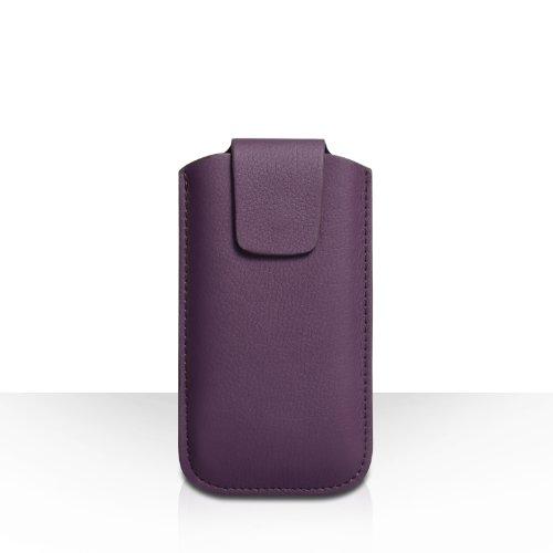 Coque iPhone 5C Etui Violet Lychee Cuir Pochette Housse