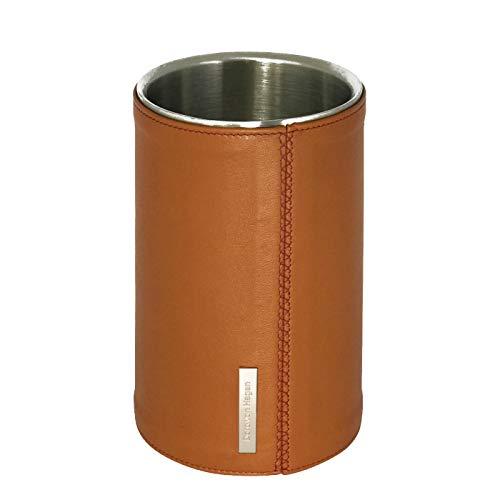 Designer Leder Weinkühler Sektkühler LUX Premium Edelstahl matt doppelwandig. Echt Lamm Nappa Leder Cognac. Handgefertigt in unserem Atelier in Deutschland. H 19,5 für 0,7 und 1 Liter Flaschen. WK-L-C