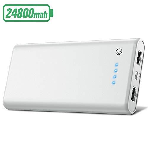 HETP Batterie Externe 24800mAh Haute Capacité Power Bank [Garantie 24 Mois] Portable Chargeur 2 Ports USB Sortie Haute Vitesse Batterie de Secours Compatible avec iPhone iPad Samsung Huawei Sony Wiko
