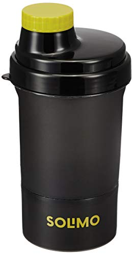 Solimo 400ml Shaker Bottle With Storage Compartment (Screw Lid), Black/Black