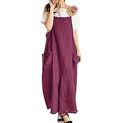 LOPILY Damen Partykleid Sommerkleider Einfarbig Einfach Bequem Freizeit Lose Tunika Blusenkleider mit Taschen Beiläufig Strand Übergröße Schlinge T-Shirt Kleid(Lila,DE-46/CN-2XL)