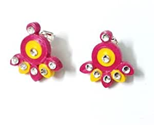 Sri's Smart Quilling Pink and Yellow stud type earrings for women .