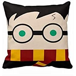NKaylockstore How cute is this Harry Potter pillow VV-1160 Linen Decorative Pillowcase/Fundas para almohada Cushion Cover for Sofa Pillow case/Fundas para almohada 18 X 18 Inch