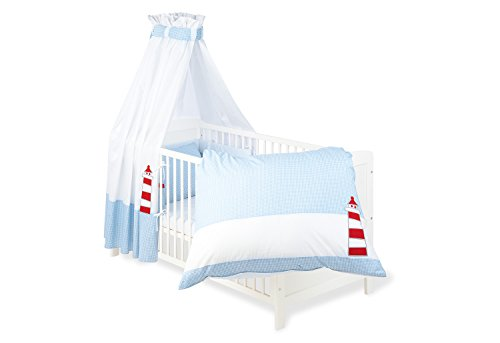 Pinolino 60946-2 - Set für Kinderbett, 4-teilig \'Schiff Ahoi\'
