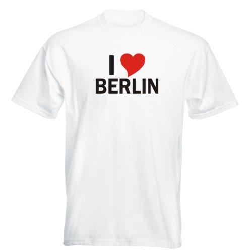 T-Shirt mit Städtenamen - i Love Berlin - Herren - unisex Weiß