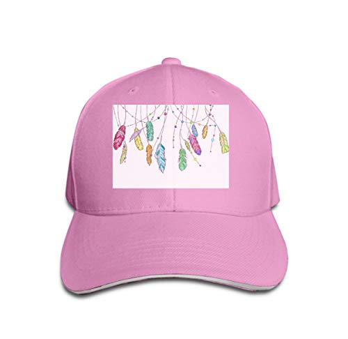 Hip Hop Baseball Cap Adjustable Denim Jean Hat Hand Drawn Sketch Feathers Dream Catcher Set Bright Colorful an Pink -