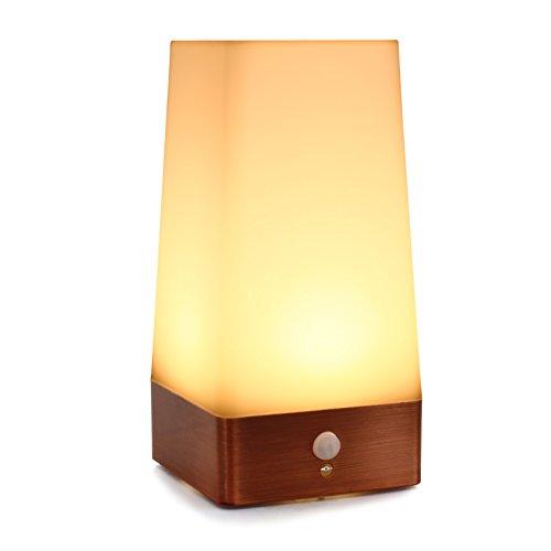 Qedertek Lámpara de Mesa Cuadrado con Sensor de Movimiento de PIR Lámpara LED de batería Luz Nocturna Inalámbrica iluminación decrater lámparas para lavabo cabecera, dormitorio, baño, pasillo.