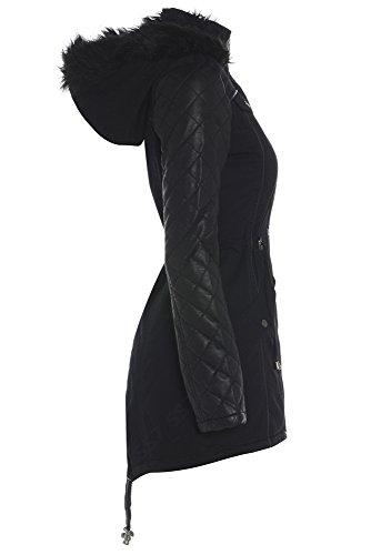 Parka da donna, con maniche trapuntate, taglie da 36 a 44 Black / Black