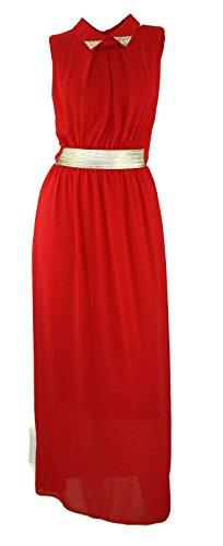 # 709robe robe Soirée D'Été Party Maxi robe strass noir Corail Menthe Rouge 343638Onesize Rouge - Rouge