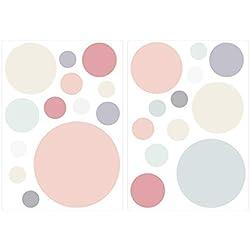 Wandtattoo Kinderzimmer Wandsticker Set Farbige Kreise in Zarten Pastelltönen S