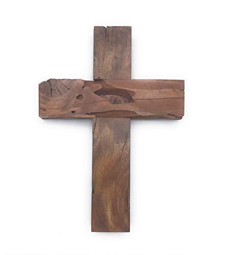 KG Home Rustikales Wandkreuz aus Holz, handgefertigt, 25,4 cm hoch (Jesus Das Ist Zentrum)