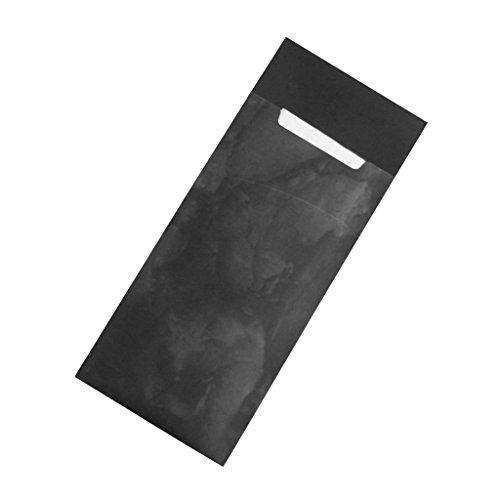 Gastropapier 520 Bestecktaschen mit Serviette schwarz marmoriert 20 cm