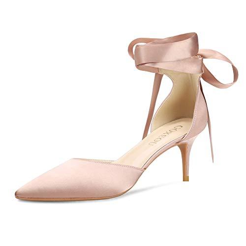 GOXEOU Satin-Pumps D'Orsay Spitzer Zehenbereich Schnürung Low Heels Kleid Party Hochzeit Braut Stiletto Schuhe für Frauen - 5,1 cm, Pink (Satin Nude), 34.5 EU Low Heel Satin-heels