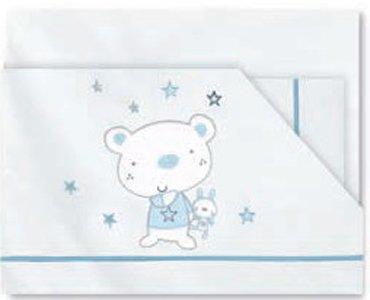 Pirulos 00913013-trittico lenzuola, motivo orsetto star, 80x 140cm, colore: bianco/blu