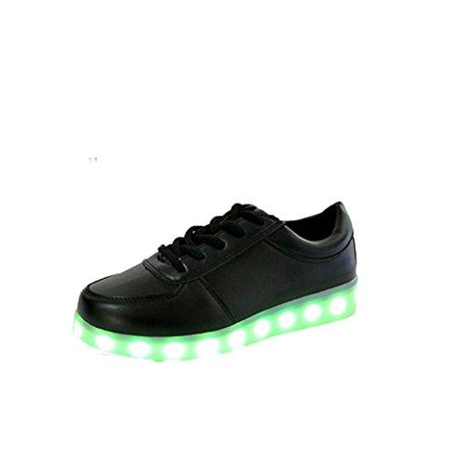 Herren/Damen Sneaker, 2018 heiß Verkauf Leuchtende Freizeitschuhe für Paare Unisex Licht schnüren Oben LED-Lade Sneaker USB Licht Sportschuhe 36-43 EU (37, Schwarz) (Kinder Stiefel Auf Verkauf)