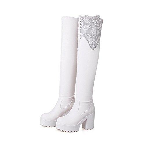 AllhqFashion Damen Hoch-Spitze Rein Ziehen Auf Hoher Absatz Stiefel Weiß