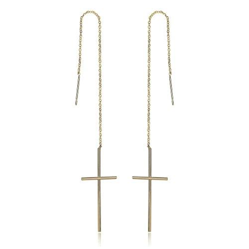 Aooaz Schmuck 18K Vergoldet Edelstahl Durchzieher Ohrhänger Ohrringe für Damen Frauen Ohrringe Lange Kette Kreuz Ohrgehänge Ohrschmuck Gold