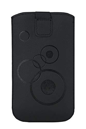 Handytasche Circle schwarz geeignet für Doro 1361 und Doro 1370 - Handy Tasche Schutz Hülle Slim Case Cover Etui mit Klettverschluss