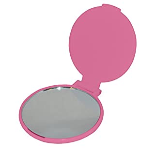 Pink Pocket Hand Mirror - Ideal For Travel / Handbag