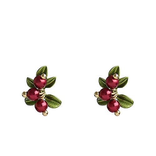 WWF Silberne Nadel Cranberry Ohrringe Eins,Rote Teenagerohrringe Ii,Kleine Frische Natürliche Ohrringe Personalisierte Süße Ohrringe Mode Persönlichkeit/rot/Einheitlicher Code - Cranberry-rosen