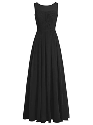 Dresstells, Robe de soirée Robe de demoiselle d'honneur mousseline longueur ras du sol Noir