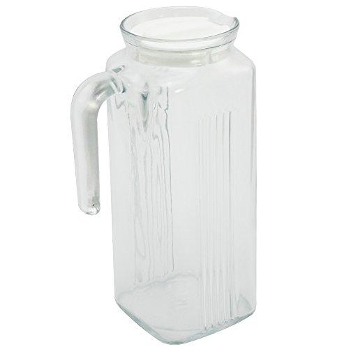 Com-Four Cruche Cruche avec poignée et couvercle, réfrigérateur ouverte en verre pour jusqu'à 1l 22x 11,5x Ø 8,5cm (01pièces–Blanc)