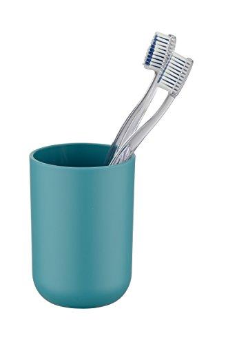 WENKO 21223565 Zahnputzbecher Brasil Petrol - Zahnbürstenhalter für Zahnbürste und Zahnpasta, absolut bruchsicher, Thermoplastischer Kunststoff (TPE), 7.3 x 10.3 x 7.3 cm, Petrol