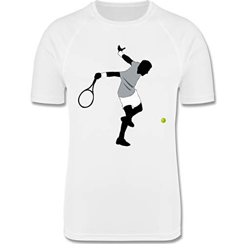 Sport Kind - Tennis Squash Spieler - 152 (12-13 Jahre) - Weiß - F350K - atmungsaktives Laufshirt/Funktionsshirt für Mädchen und Jungen