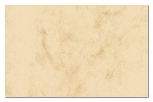 Sigel DP744 Visitenkarten marmoriert beige, 100 Stück = 10 Blatt, glatter Schnitt rundum, 85x55 mm - auch in grau