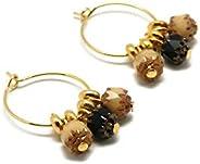 Mini orecchini a cerchio COCO art deco oro marrone nero asimmetrico ottone 24K resina oro regali di natale ami