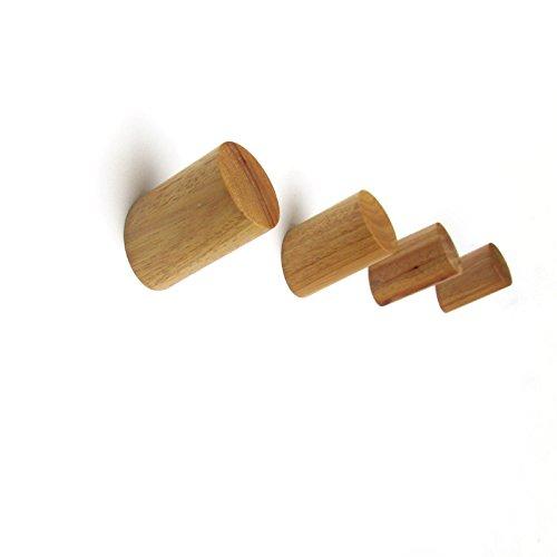 EasyChic Crochets muraux pour vêtements, design piquet, bois de chêne massif naturel, Couleur moderne, Style scandinave campagne – Lot de 4, Bois dense, naturel, 7x4.5