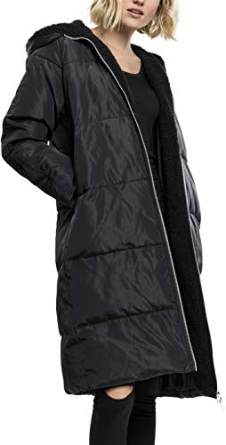 Urban Classics Damen Ladies Oversized Hooded Puffer Coat Mantel, Schwarz Black 825, Small Hooded Puffer